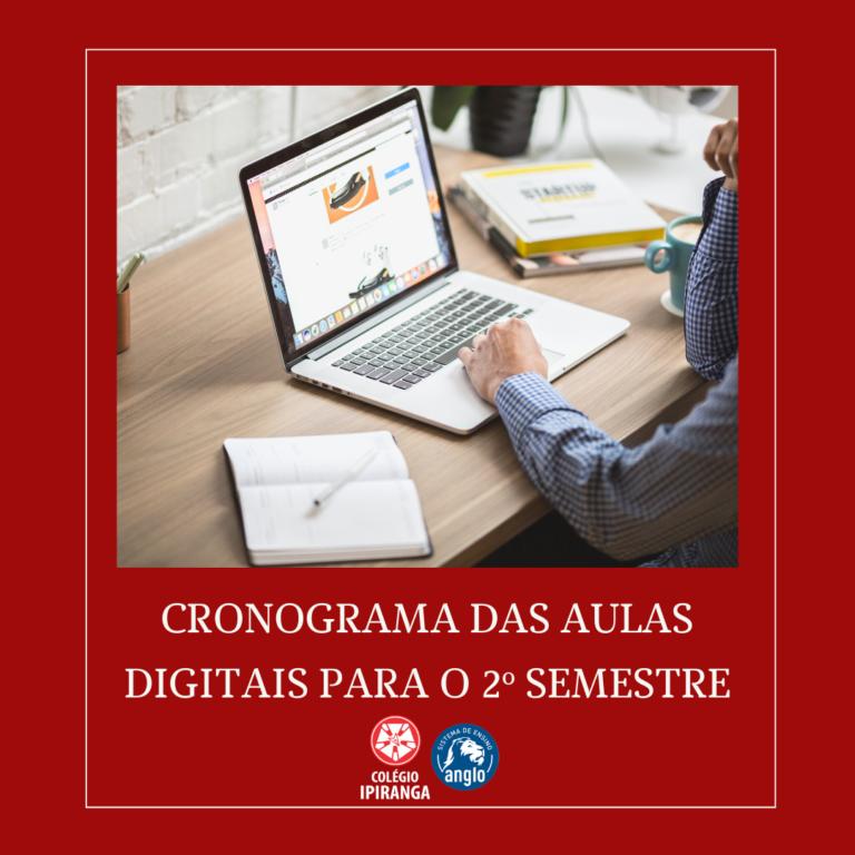 Cronograma de aulas digitais envio de atividades início dia 03/08/2020